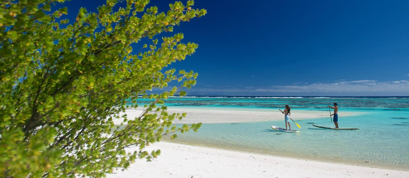 The beach at the Brando in French Polynesia