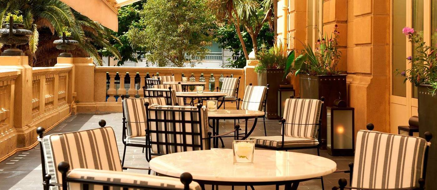 Terrace dining at Hotel Maria Cristina in Spain