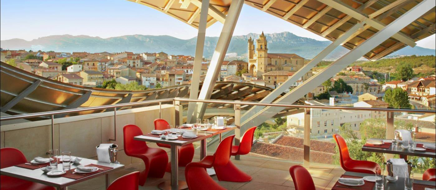 Restaurant with view at Hotel Marques de Riscal in Spain