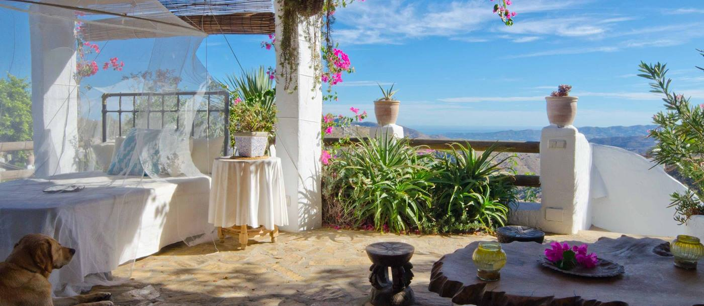 The covered terrace of El Refugio, Andalucia
