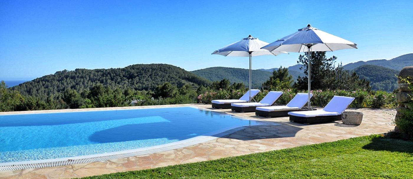View over the swimming pool at Villa Palio in Ibiza