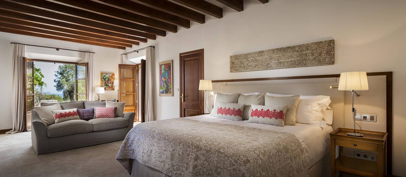 Large double bedroom at  villa Sa Rotja in Mallorca