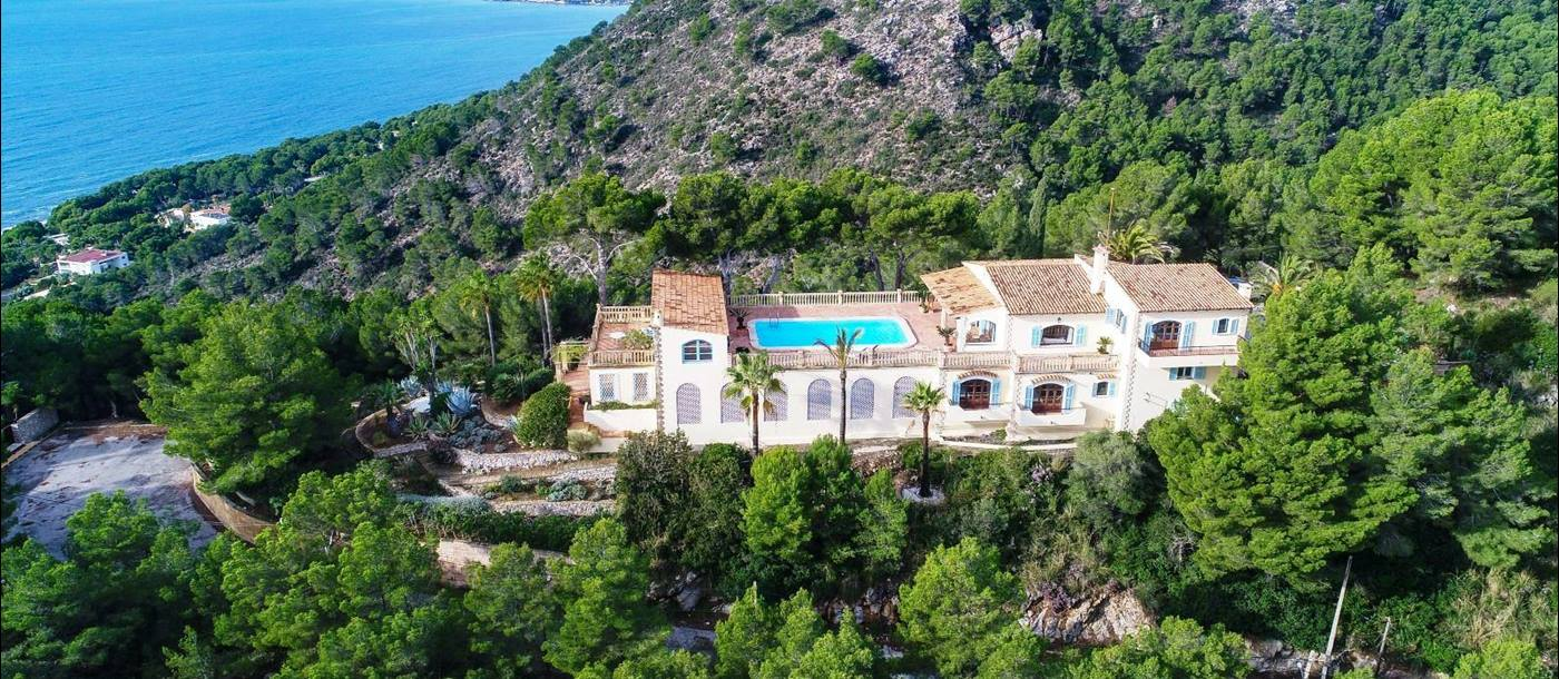 Aerial view of villa canyamel in Mallorca, spain on a hillside overlooking the Mediterranean sea
