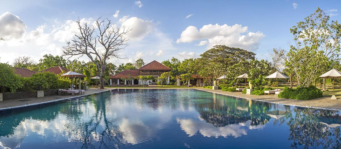 swimming pool and exterior of ulagalla, Sri Lanka