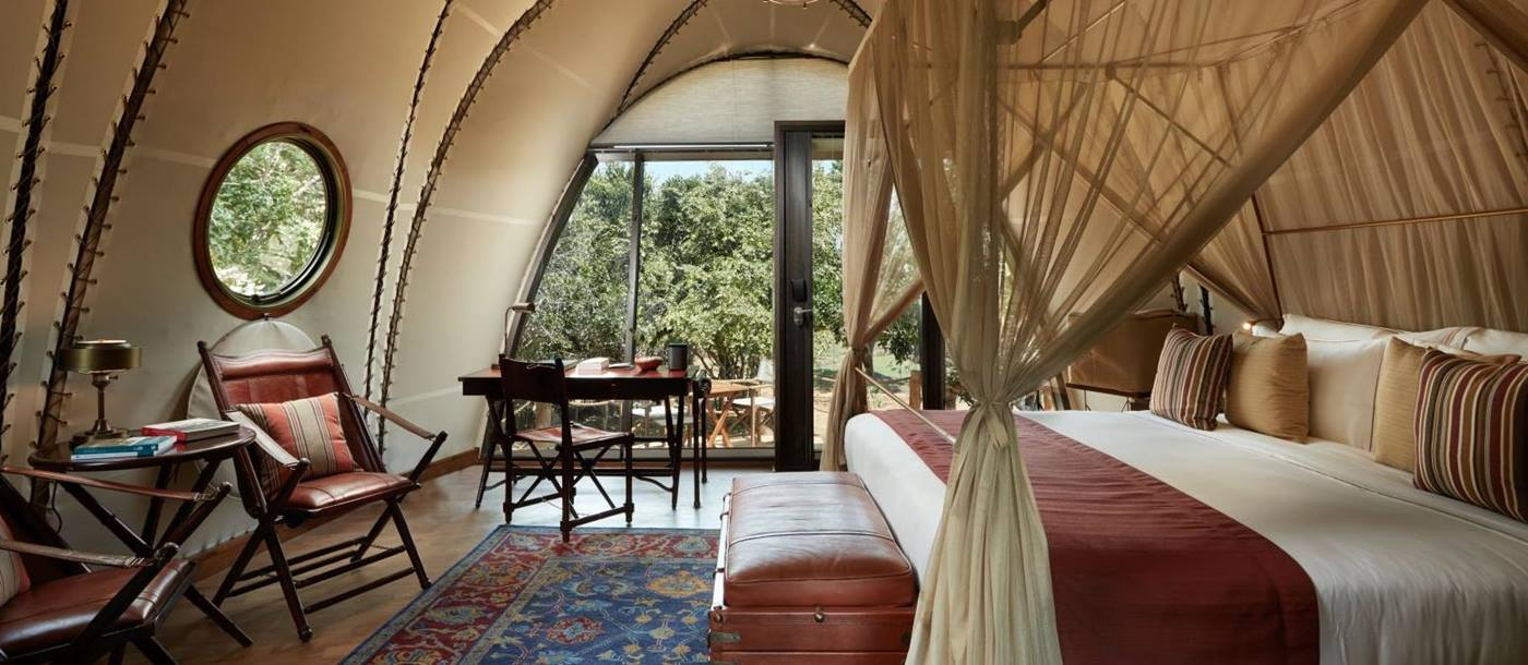 Inside a guest cocoon at Wild Coast Tented Lodge Sri Lanka
