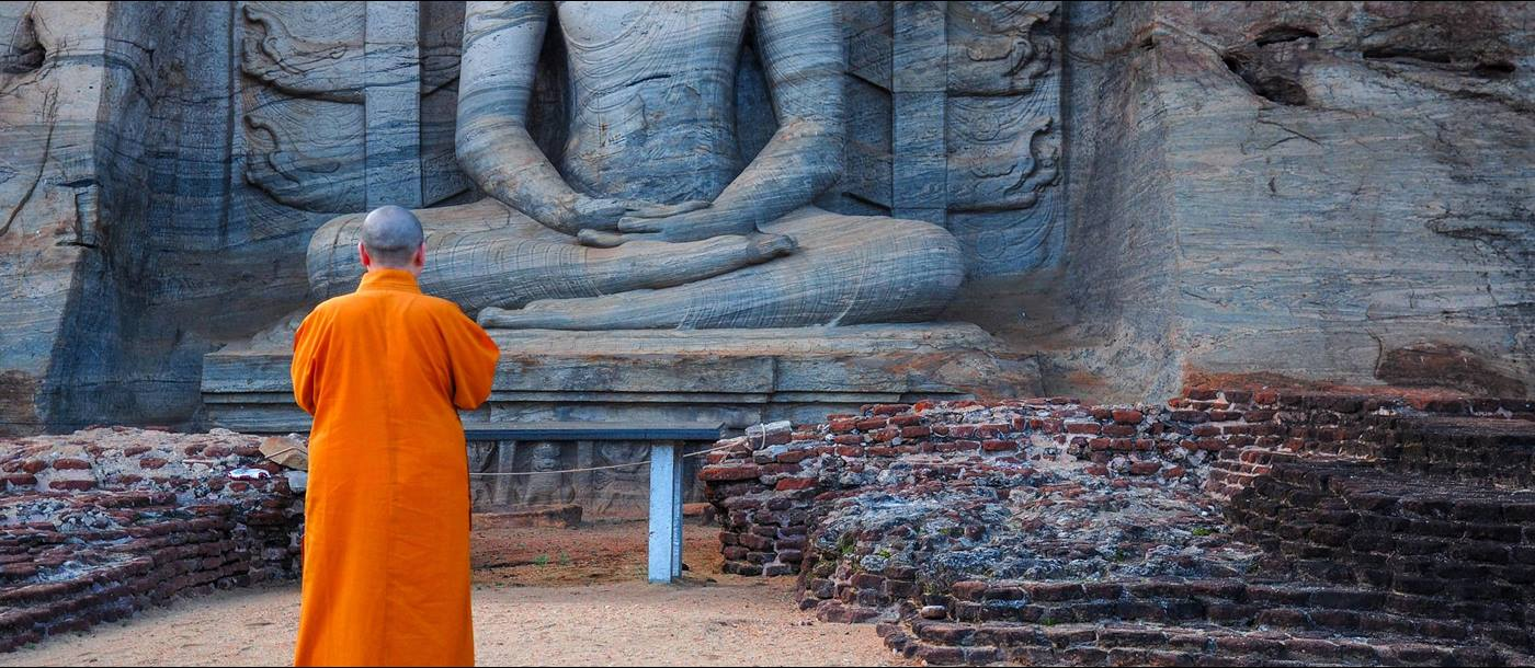 monk at polonnaruwa, Sri Lanka