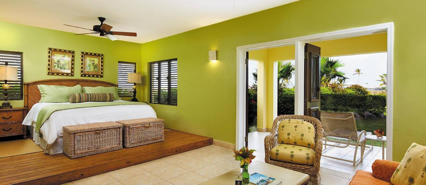 Lower bedroom of a premier cottage at Nisbet Plantation, Nevis