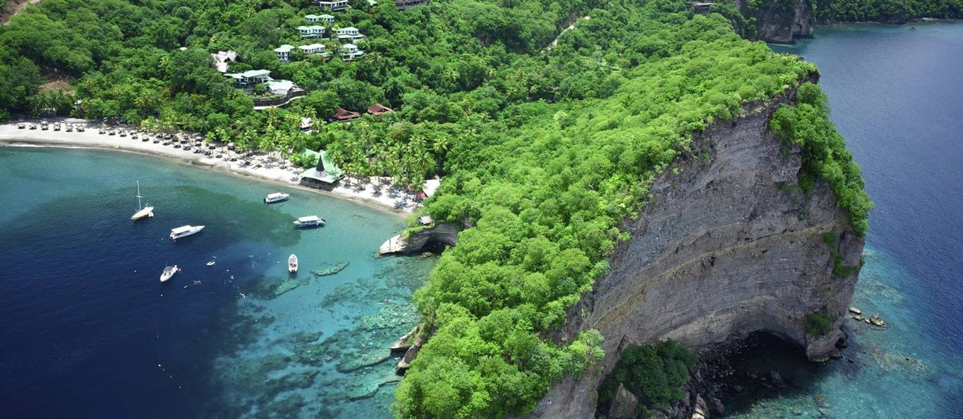 Aerial of the luxury resort Anse Chastanet, St Lucia