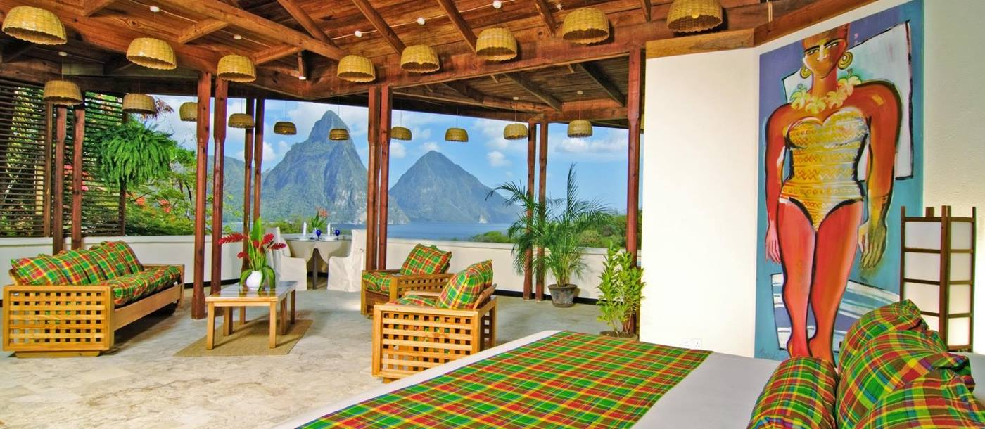 Double bedroom in the luxury resort Anse Chastanet, St Lucia
