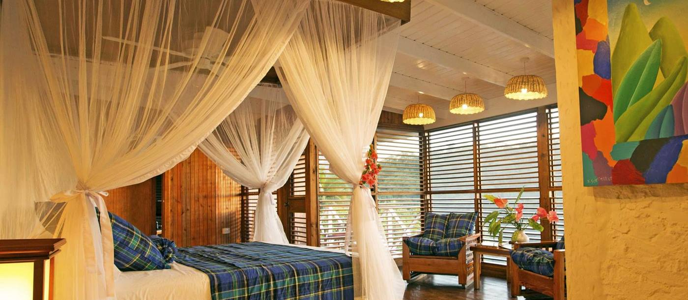 Double bedroom of the Casaurina Pool Suite at Anse Chastanet, St Lucia