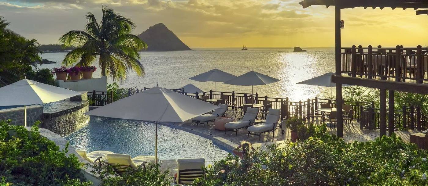 The infinity pool at the bar and restaurant of Cap Maison, St. Lucia