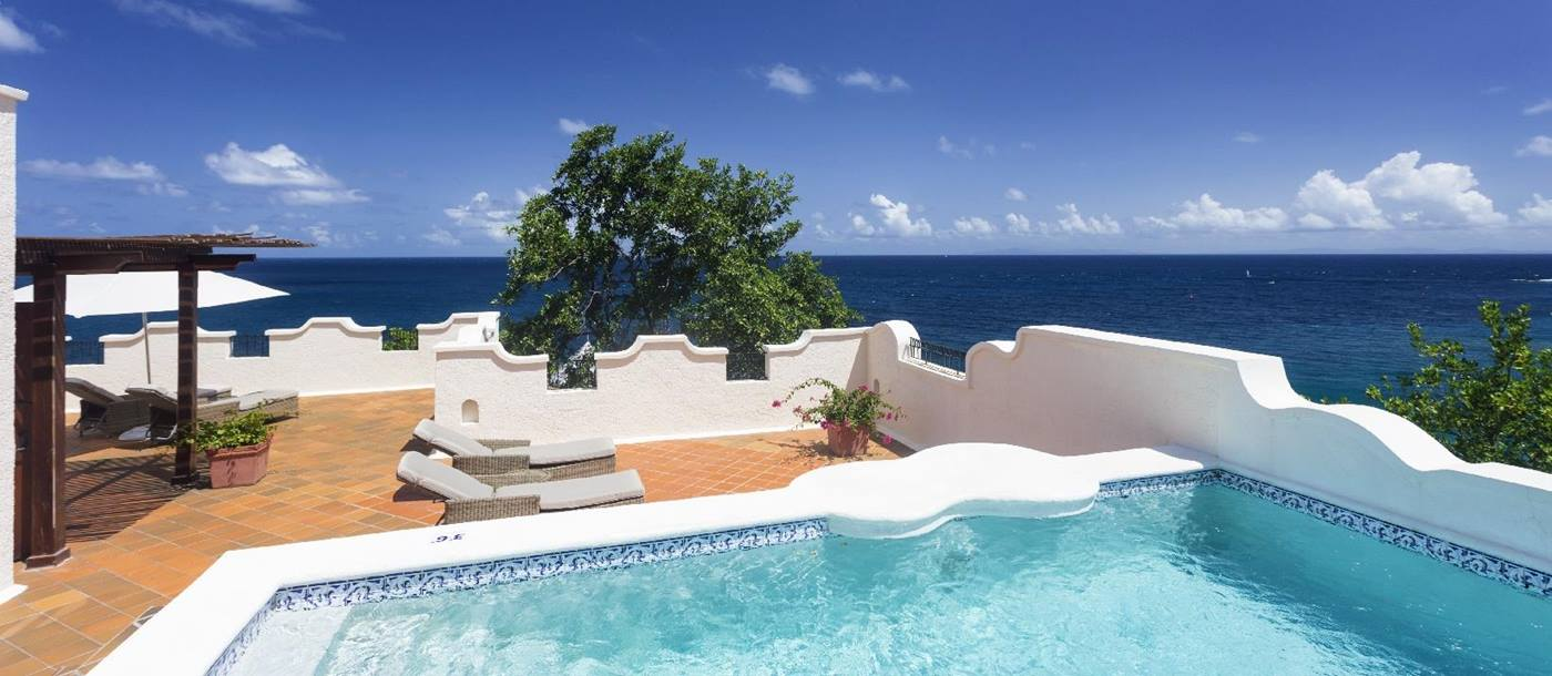 The swimming pool of an ocean view villa at Cap Maison, St. Lucia
