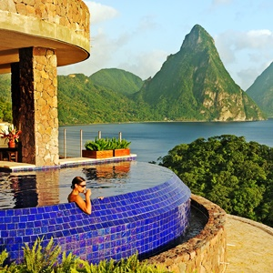Jade Mountain on St Lucia - view from pool