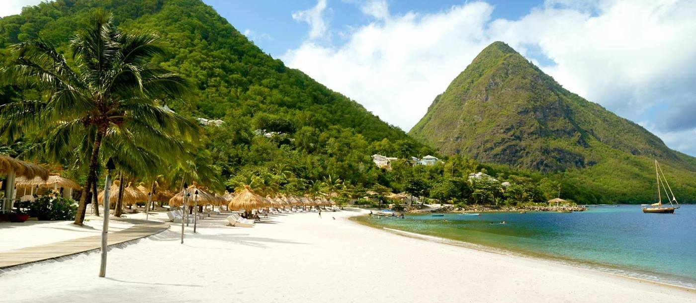 The beach of Sugar Beach, St Lucia
