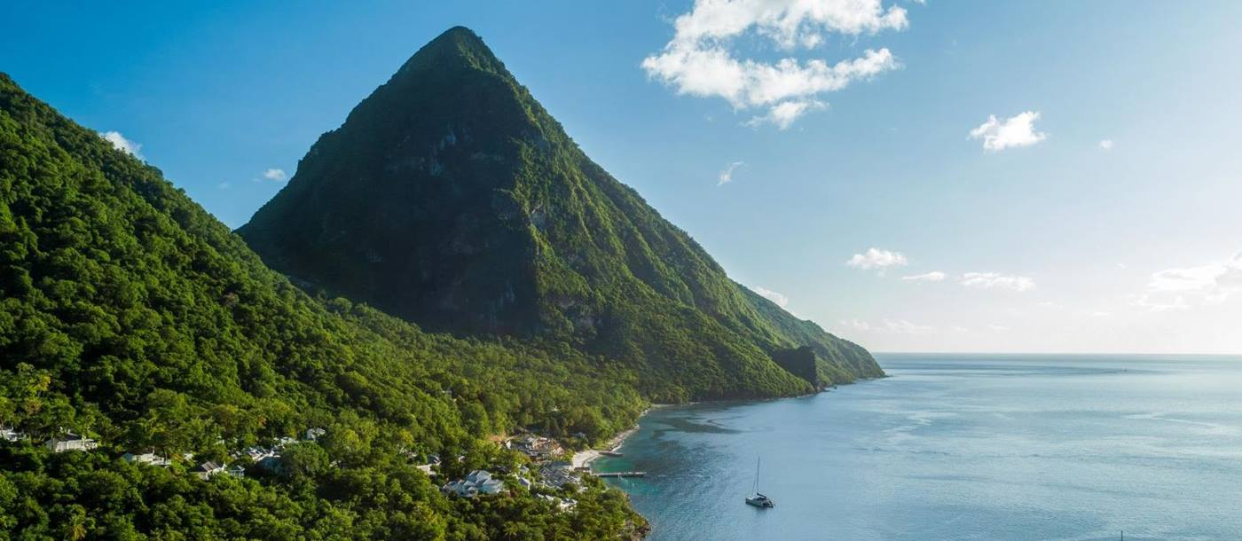 Aerial view of Sugar Beach in St Lucia and the Pitons