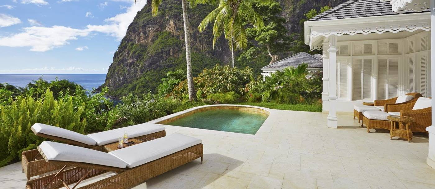 The deck of a Superior Luxury Cottage at The deck of a Superior Luxury Cottage at Sugar Beach, St Lucia