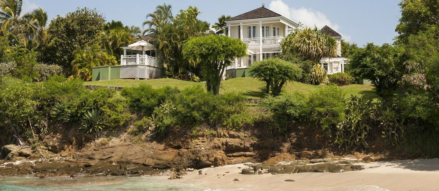 The Cotton House, Mustique - facade & beach