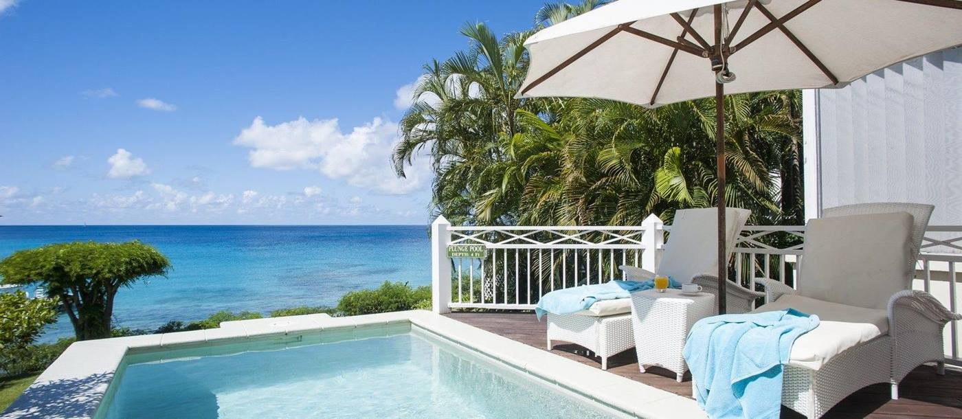 Private pool at The Cotton House, Mustique