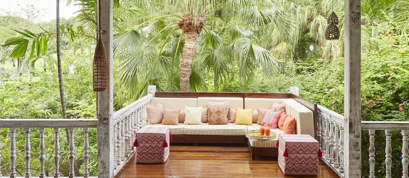 Seating area at The Cotton House, Mustique