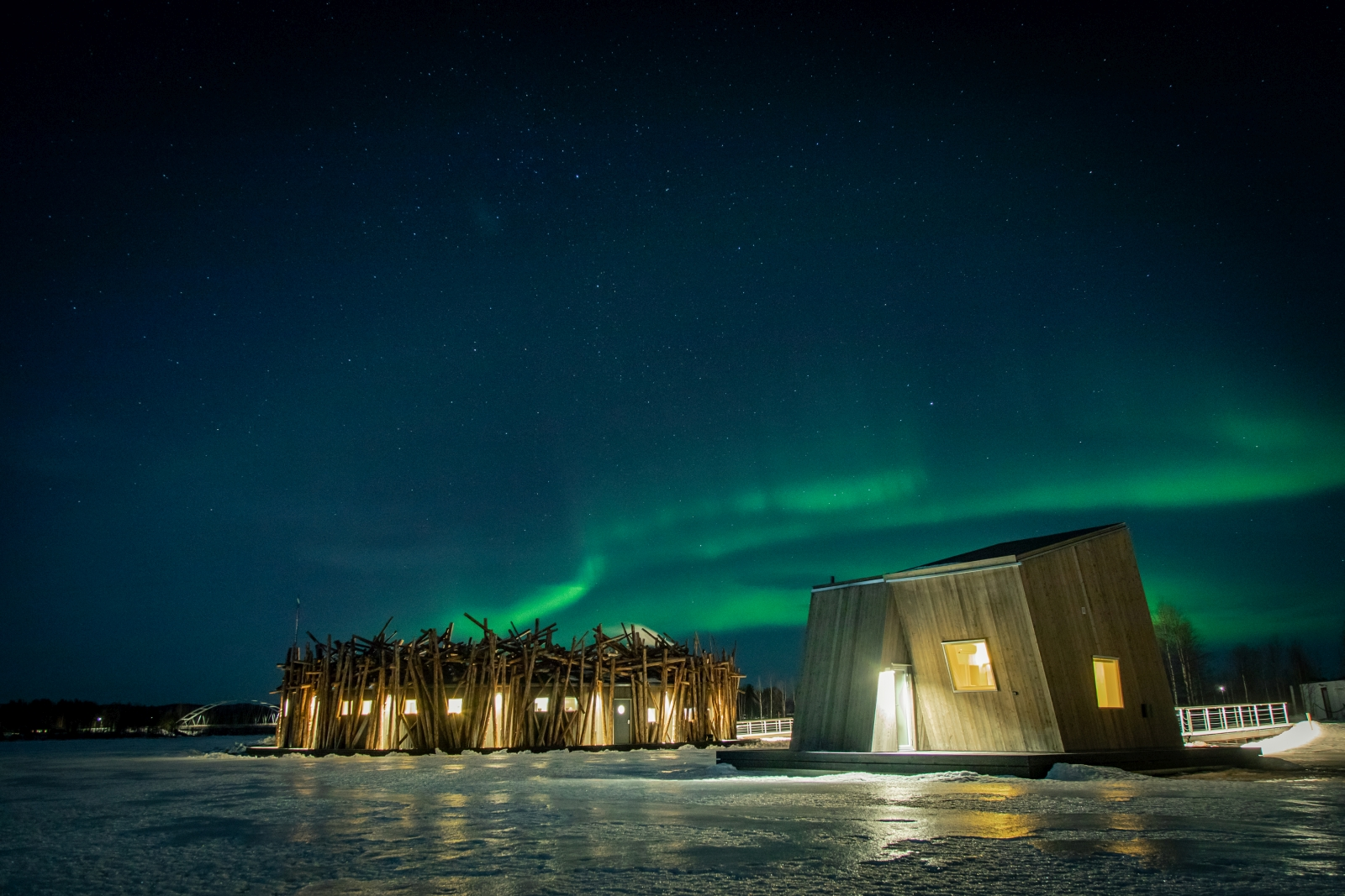 Northern lights at Arctic Baths in Sweden