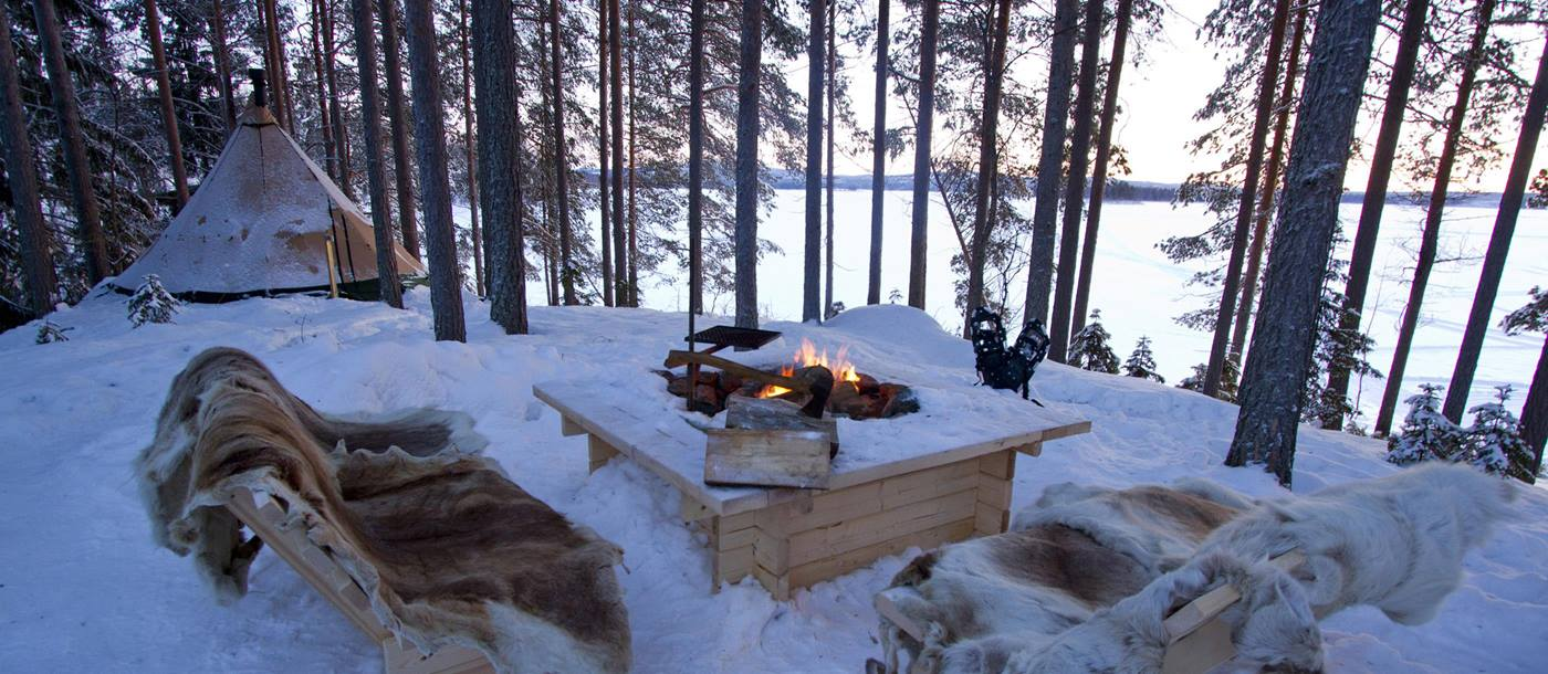 Fireplace at Aurora Safari, Sweden