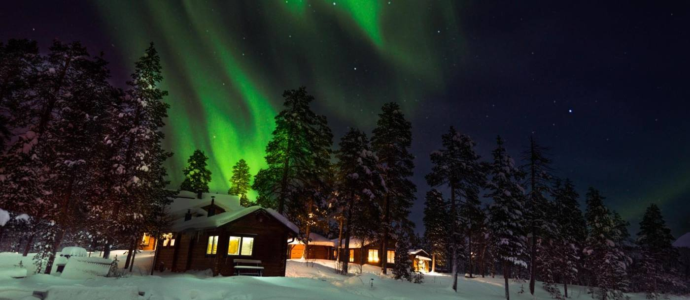 Northern lights  at Fjellborg Arctic Lodge in Sweden