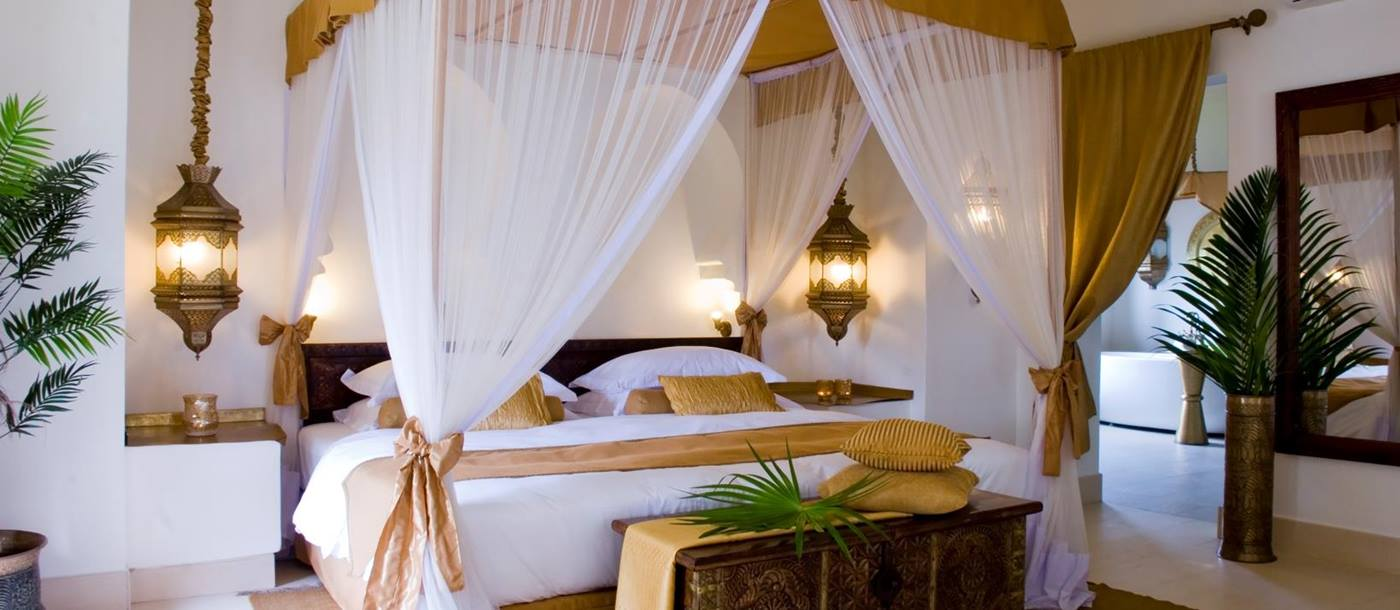 The bedroom of a villa at Bazara in Tanzania