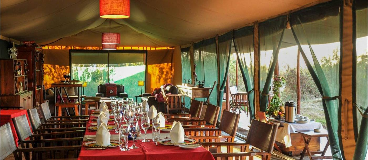 Dining room at Lemala Ngorongoro Tented Camp in Tanzania