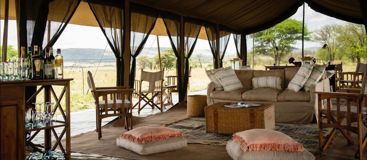 Sitting area and bar tent at Serengeti Safari Camp in Tanzania