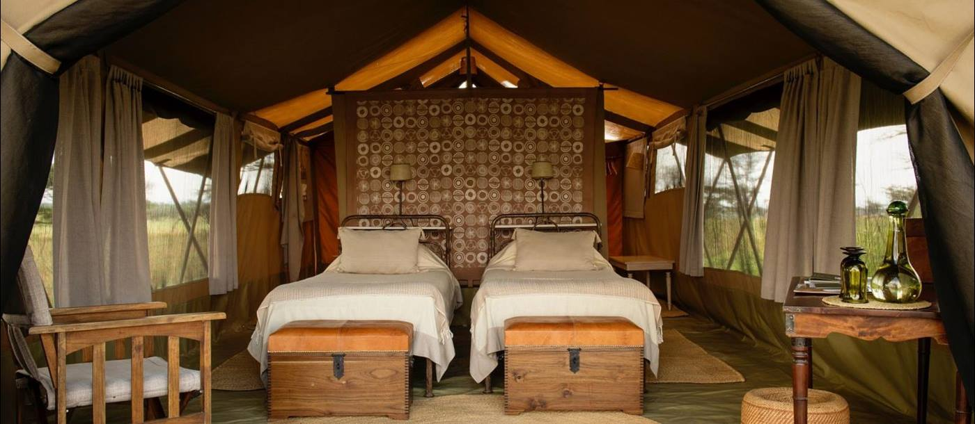Twin room at Serengeti Safari Camp in Tanzania
