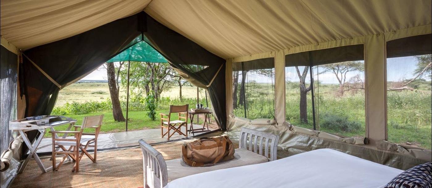 View from tent at Serian's Serengeti North Camp in Tanzania
