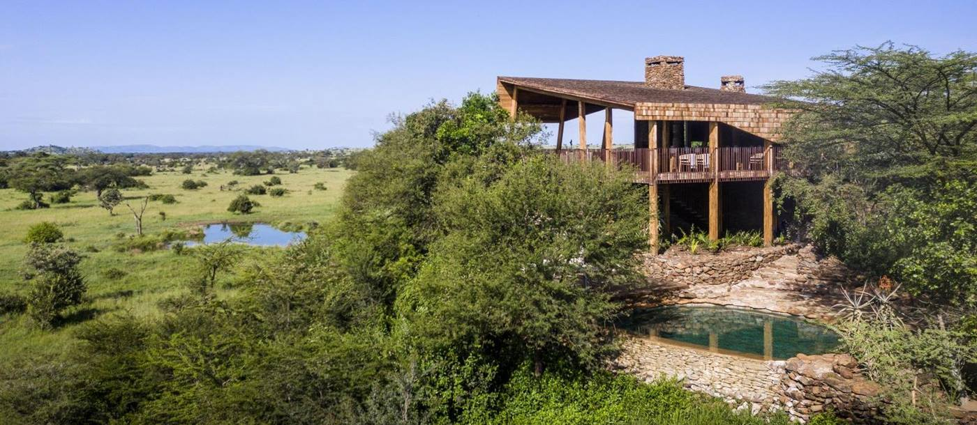 View of lodge at Singita Faru Faru Lodge in Tanzania