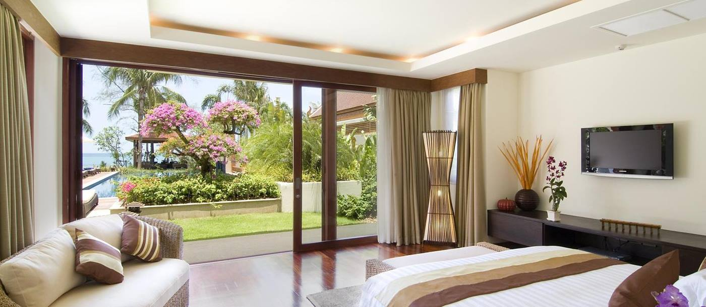 double bedroom with garden access at baan samlarn, thailand