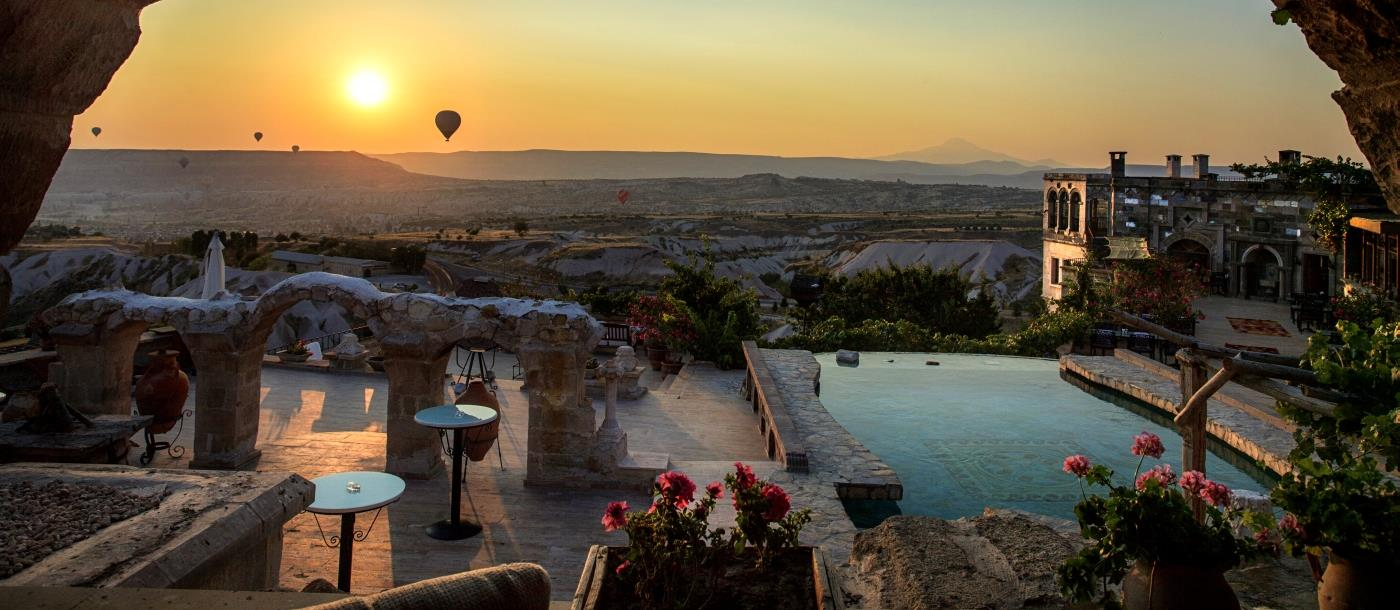 View from arch at Museum Hotel in Cappadocia in Turkey