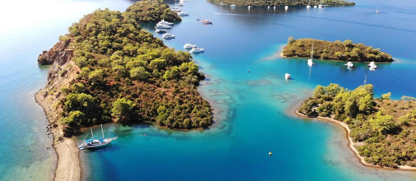 The Paradise Islands of Gocek on the coast of Turkey