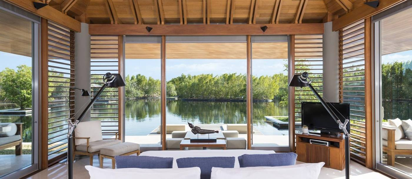 A villa guest bedroom in Amanyara, Turks and Caicos Islands