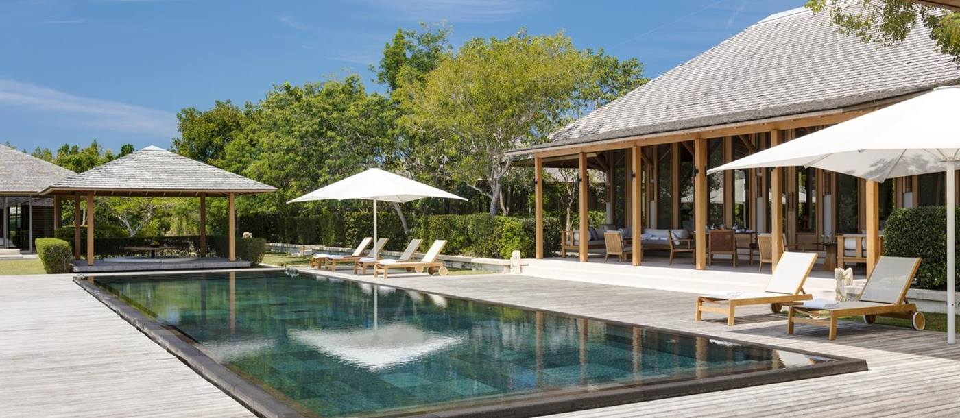 Pool deck of a private villa at Amanyara, Turks and Caicos Islands