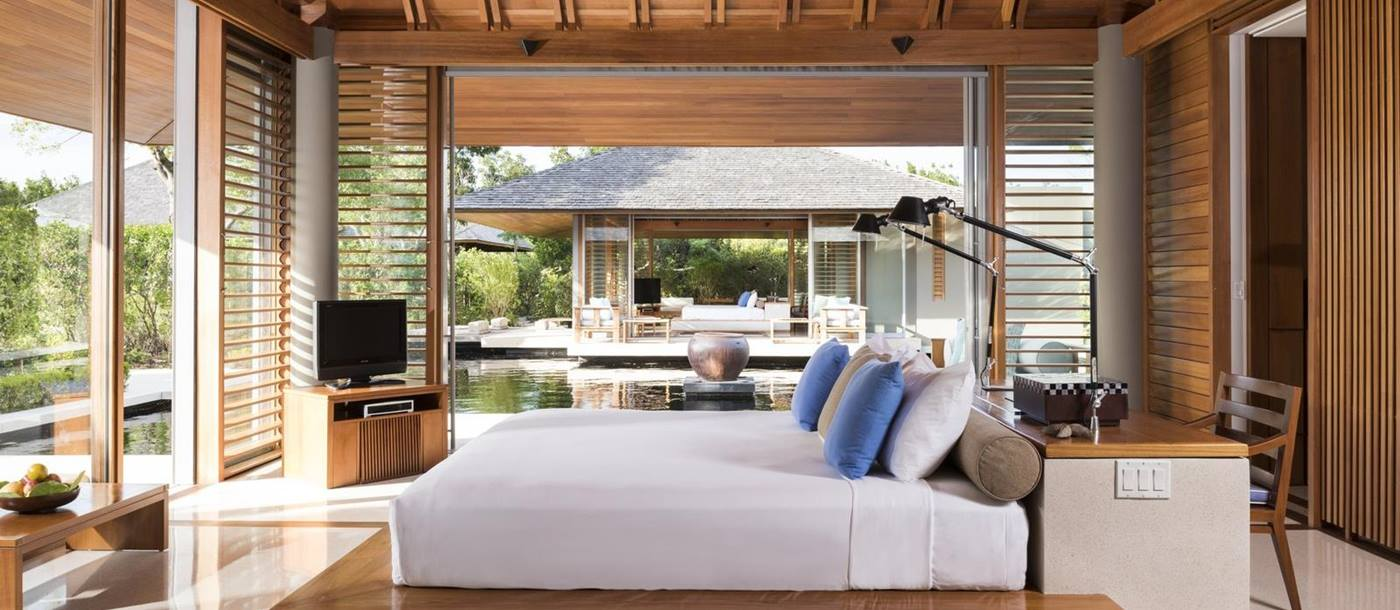 A villa bedroom at Amanyara, Turks and Caicos Islands