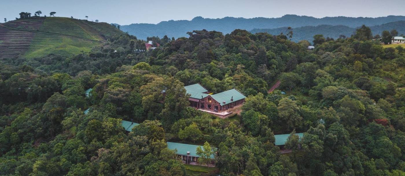 An aerial view of Clouds Mountain Gorilla Lodge in Uganda