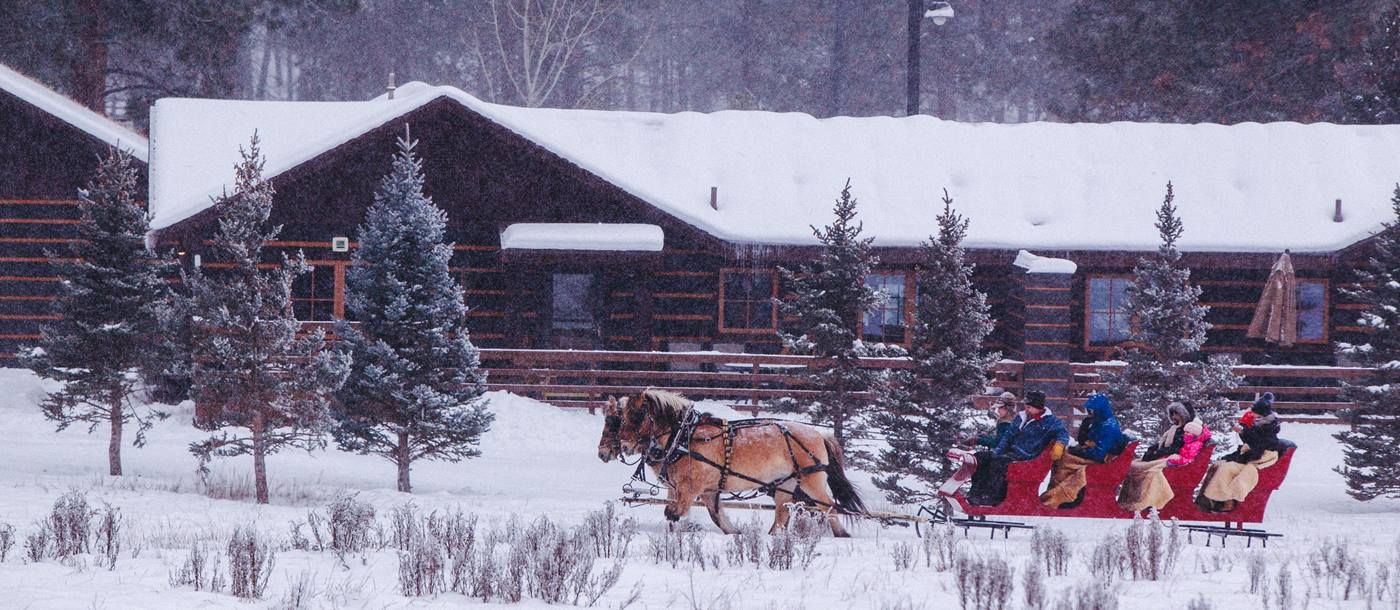 Sleigh ride at Paws Up Ranch-USA
