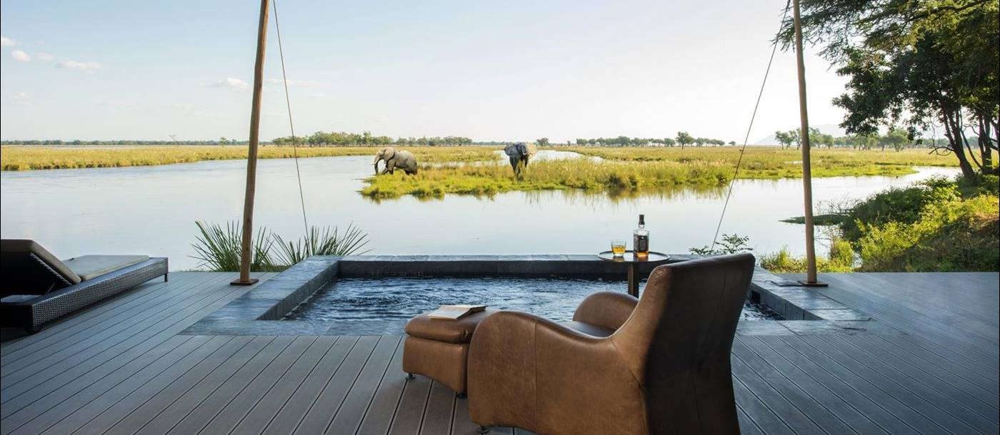 Luxury suite view at Sausage Tree Camp in Zambia