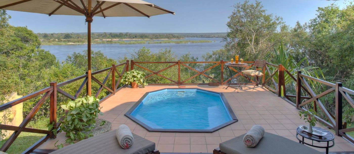 Luxury river suite pool at The River Club in Zambia