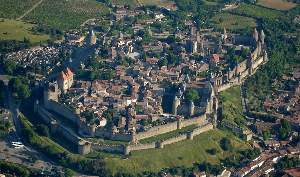 Aerial view of Carcassone, France