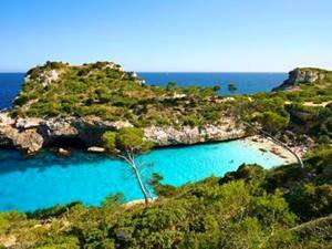 small inlet and beach at cala des moro in mallorca, spain