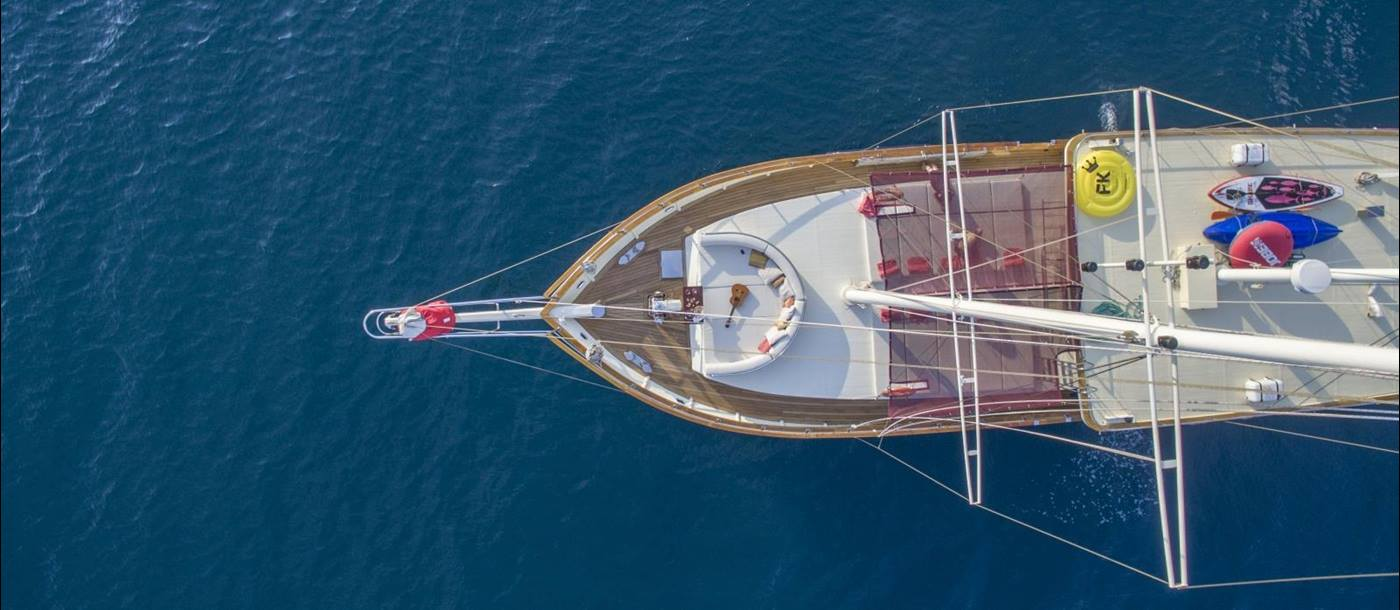 View from above the bow of Altair in Croatia