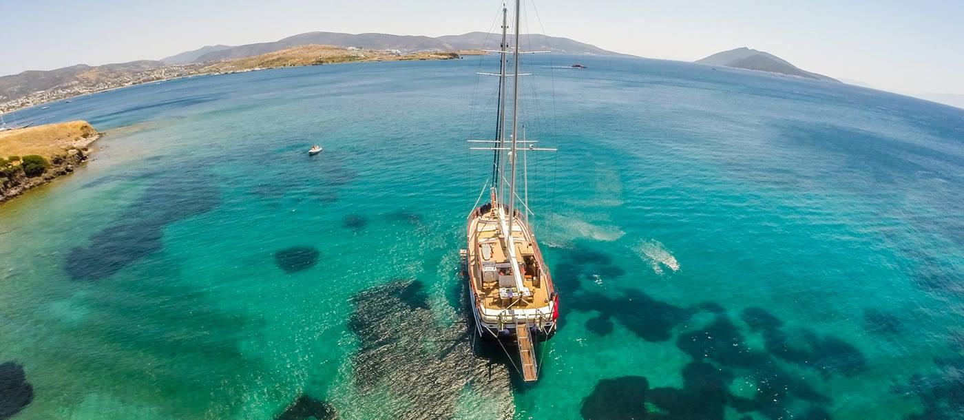 Aerial view of the Artemis gulet in clear Turkish waters