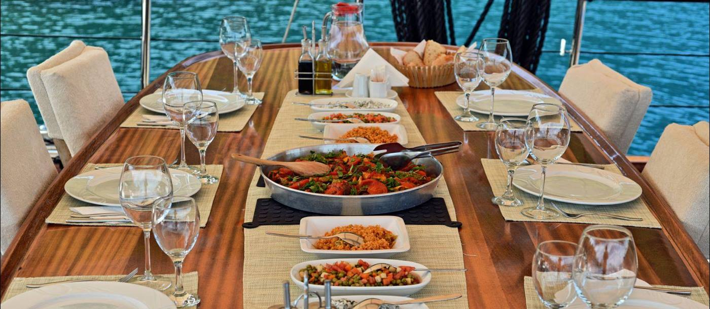 Table set for dinner on board Derin Deniz