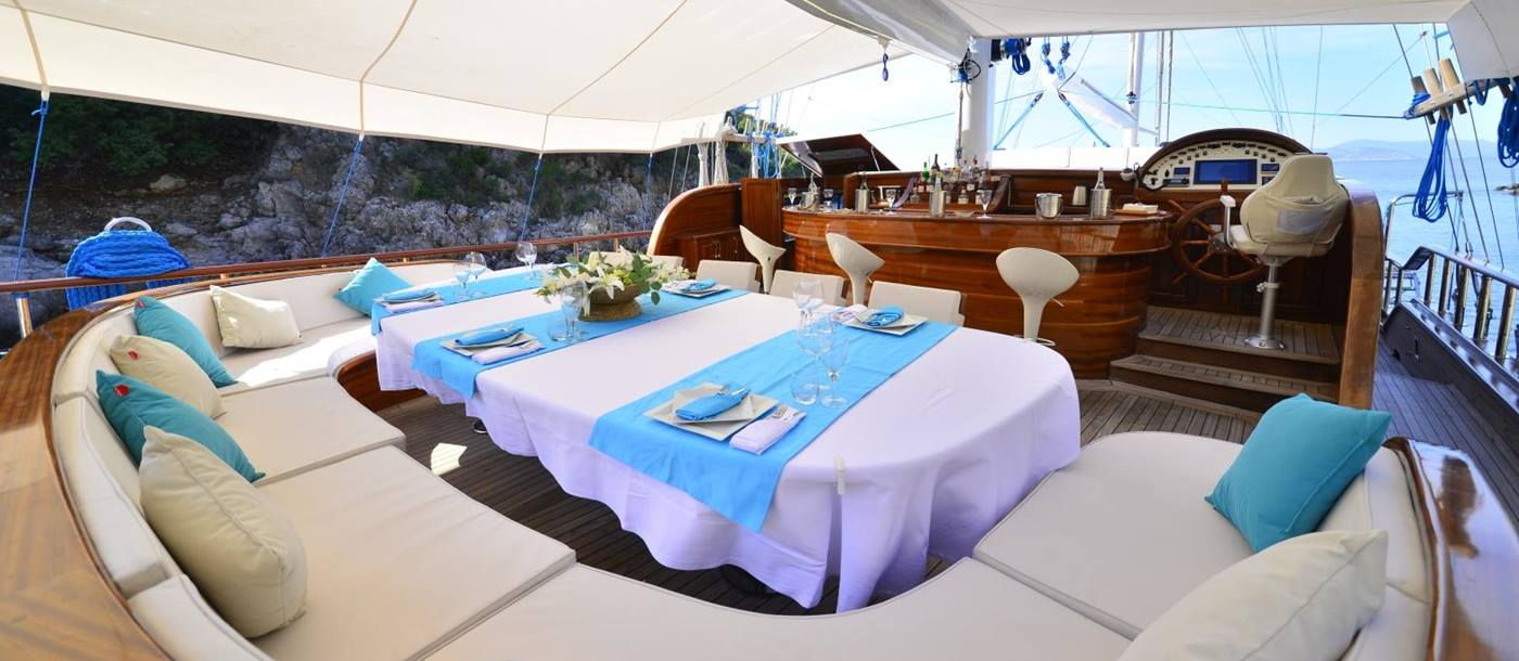 Dining at the Aft of the Lycian Queen in Turkey