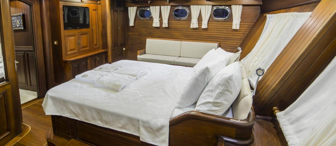 Master cabin on board Wicked Felina in Turkey